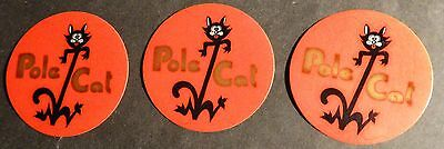 "(3) Vintage Pole Cat Snowmobile Decals  About 2 1/2"" X 2 1/2"""