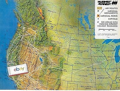 Hughes Airwest 2 Page Route Map 1980 Houston-Des Moines-Milwaukee-Calgary