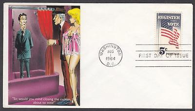 REGISTER and VOTE Stamp 1344 Sexy Woman Comic Fiirst Day Cover FDC