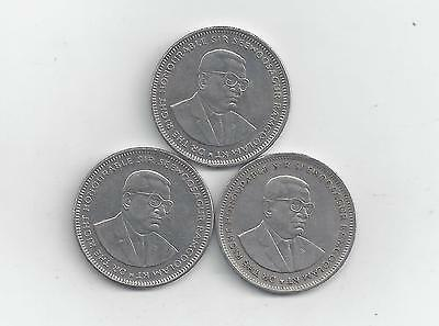 3 DIFFERENT 1 RUPEE COINS from MAURITIUS (1997, 2002 & 2004)