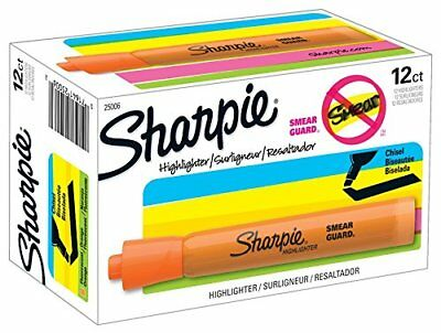 Sharpie Tank Style Highlighters, Chisel Tip, Fluorescent Orange, Box of 12 New
