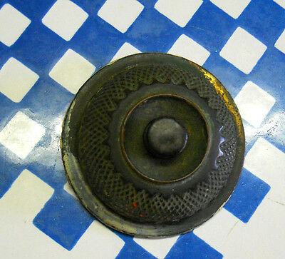 old EASTLAKE CAST BRONZE DOOR BELL PUSH BUTTON  COVER NICE PATINA