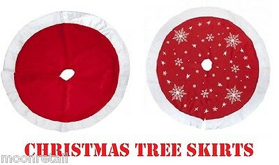 Large Christmas Xmas Tree Skirt Base Cover Decoration Red Snowflakes 92cm / 87cm