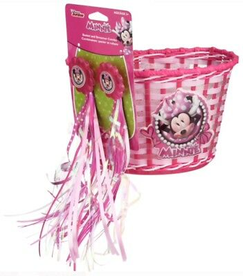 Disney Minnie Mouse Bicycle BASKET + Handlebar STREAMERS Girls Bike Scooter Gift