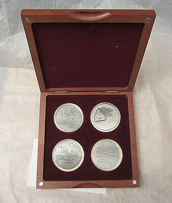 4 State of Israel Silver Coin Set in Walnut Presentation Box -- Free Shipping *
