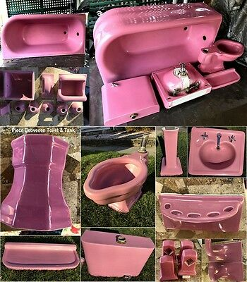 1920 s 21pc ANTIQUE ART DECO BATHROOM SHABBY Pink Rose Pedestal Sink TUB TOILET