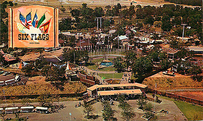 Postcard Helicopter Ride over Six Flags Over Texas, Dallas Fort Worth, Texas '63