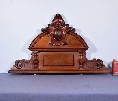 "31"" French Antique Pediment Architectural Crown Mahogany Wood Crest"
