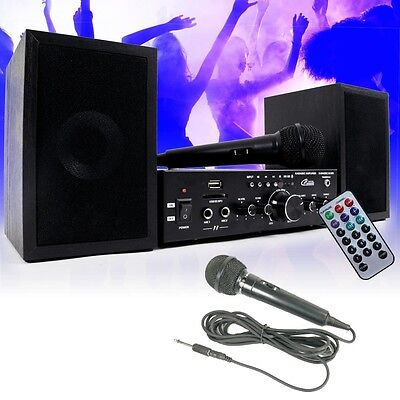 Karaoke System Bluetooth USB SD MP3 Amplifier Remote control Speakers 2x