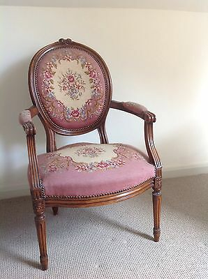 Antique French Carved Walnut Needlepoint Chair