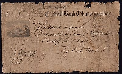 1816 CARDIFF BANK £1 BANKNOTE - GLAMORGANSHIRE * Outing 418e *
