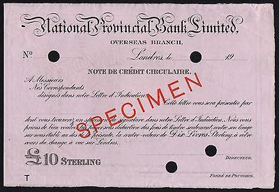 19-- National Provincial Bank Ltd £10 Specimen Credit Circulaireoversea Branch