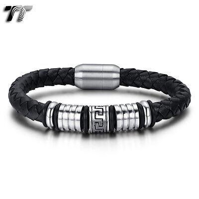 TT Greek Pattern Leather 316L S.Steel Bead Magnet Buckle Bangle BR246 NEW