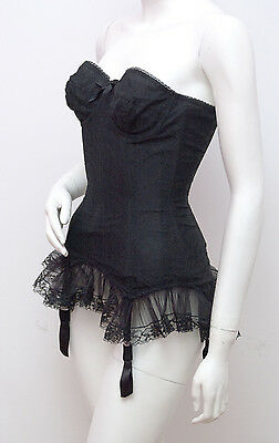 Authentic Vintage Black Merry Widow Lace Girdle Corset PRISTINE Early 1960s 8-10