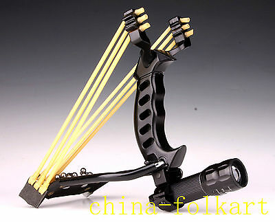 Black Assassin Catapult Powerful Slingshot Flashlight Clamp Wrist Arrow Rest