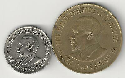2 DIFFERENT COINS from KENYA - 10 & 50 CENTS (BOTH DATING 1977)