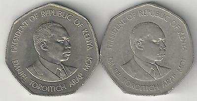 2 DIFFERENT 5 SHILLING COINS from KENYA DATING 1985 & 1994