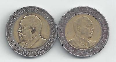 2 DIFFERENT BI-METAL 5 SHILLING COINS from KENYA - 1997 & 2009 (2 TYPES)
