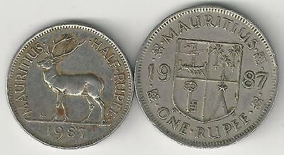 2 DIFFERENT COINS from MAURITIUS - 1/2 & 1 RUPEE (BOTH DATING 1987)