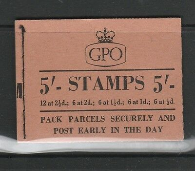 GB Booklet, 5/- Sept 1955, exploded left is Pane of 6 1 1/2d UM