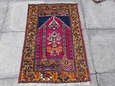 Old Hand Made Turkish Oriental Rug Yellow Red Wool Small Rug 120x81cm