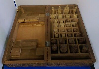 Rare Vintage Oriental Wooden Carved Chess Set