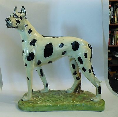"Shlf Large California 15"" Statue Of Harlequin Great Dane Dog  Retro"