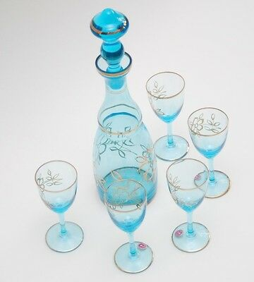 VINTAGE Blue Gilded Glass Decanter + 5 Wine Glasses_Made in Roumania