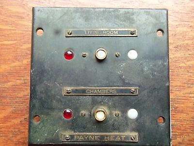 "Antique Brass Industrial ""Payne Heat"" Indicator Triple Light Electrical Panel"