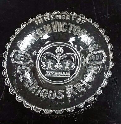 queen victoria's glorious reign commemorative 1837 - 1901  glass bowl
