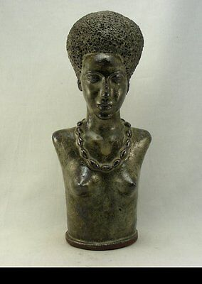 Vintage Art Pottery Bust Sculpture of a Black African Woman