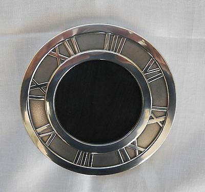 TIFFANY & Co SOLID SILVER ATLAS PATTERN ROUND PHOTOGRAPH FRAME Dia 5 inches