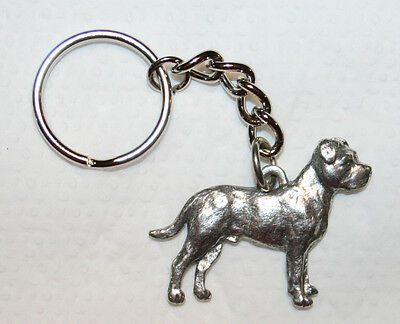PIT BULL Terrier Pitbull Dog UnCropped Fine Pewter Keychain Key Chain Ring Fob