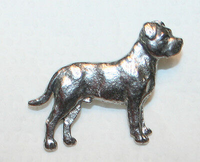 PITBULL Pit Bull Terrier UnCropped Dog Fine PEWTER PIN Jewelry Art USA Made