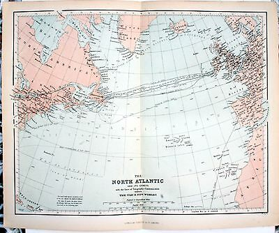 Original Victorian 1868 Coloured Sheet Map Folded: North Atlantic