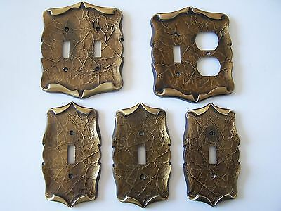 Lot Of Vintage Amerock Carriage House Brass Light Switch & Outlet Plates Covers