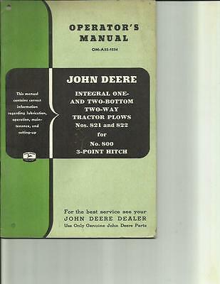 John Deere Integral One And Two Bottom Plows No. 821 And 822 Operators Manual