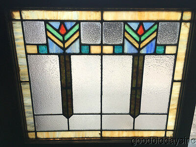 "Antique Art Deco Stained Leaded Glass Window 28"" by 25"""