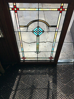 "Antique Stained Leaded Glass Window from Chicago 42"" by 28"""