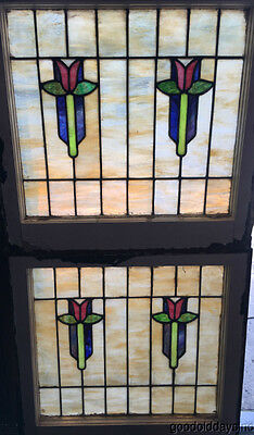 "Beautiful Pair of Tulip Stain Leaded Stained Glass Window 24"" wide x 22 3/4"""