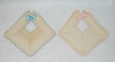Vintage Crocheted Antique Decorative Baby Bibs Pink and Blue