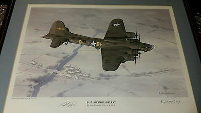 Keith Woodcock Print Of Memphis Belle Signed By The Pilot Robert Morgan Usaaf