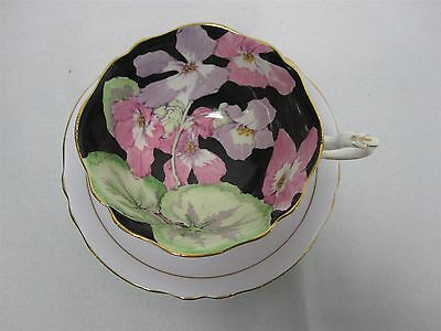 Vintage Paragon Hm Queen Mary Fine Bone China Black Floral Tea Cup & Saucer
