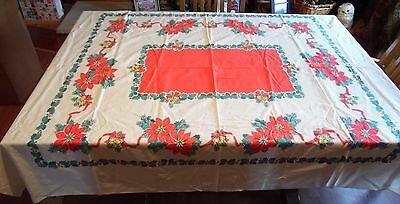 "Vintage Christmas Poinsettia Holly & Bells  Linen Tablecloth 74"" By 60"""