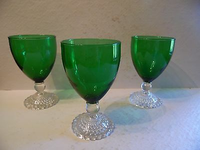 3 Vintage Bubble Foot Green by Anchor Hocking Water Goblets