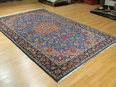 7x11 Persian Kashan Amazing Blue Vegetable Dye Handmade Knotted Wool Rug 582077