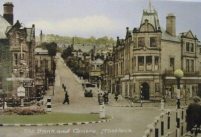 """Lovely Old Postcard Of """"the Bank & Centre, Matlock"""" Derbyshire. Unused."""
