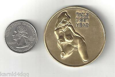 NUDE TOPLESS Sexy Busty Lady Woman BRONZE HEADS TAILS Erotic Risque Coin Token