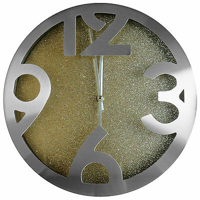 """TKF 12"""" Aluminum Wall Clock with Glitter Gold Face Dial"""