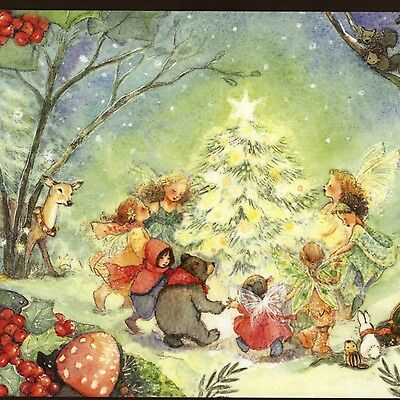 Becky Kelly...fairies,woodland Animals Dance Around Christmas Tree,greeting Card